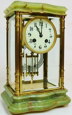 Antique French Onyx & Brass 8 Day Striking 4 Glass Table Regulator Mantel Clock
