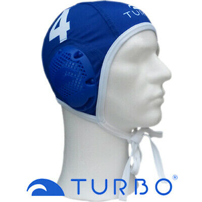 *Populair* Turbo Waterpolo cap blauw nummer 8