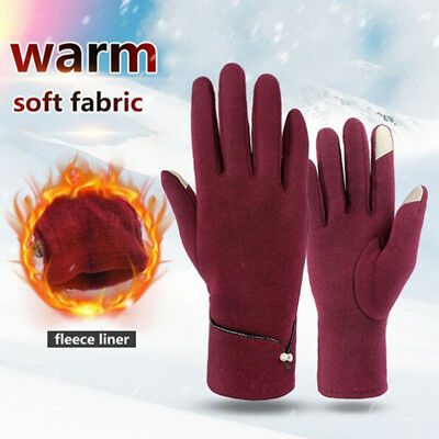 Women Ladies Winter Warm Thick Fleece Lined Thermal Button Touch Screen GloRDUK