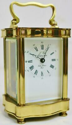 Vintage French L'Epee Brass Ormolu & Glass Serpentine Timepiece Carriage Clock