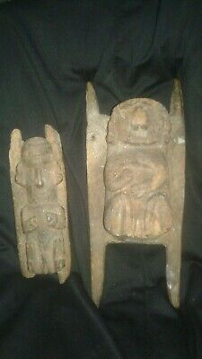 PreColumbian pair man and woman carved, Chimu wood figures ,Chimu-Moche, chavin