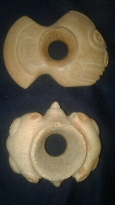 2 Pre-Columbian Chavin stone mace head carved in the shape of an owl, moche