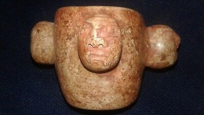 Chavin small cup stone alabaster 4 faces head warrior Maya,precolumbian,moche