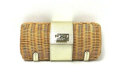 KATE SPADE New York $268 Minu Woven Straw Leather Trim Clutch Purse in Gold