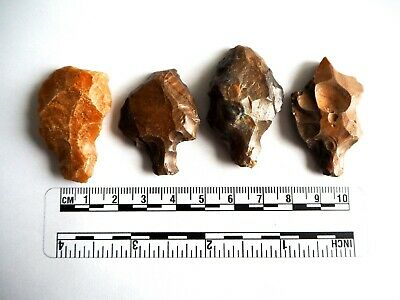 Paleolithic Arrowheads x 4 - Genuine Saharan Flint Artifacts - 70,000BC (2606)