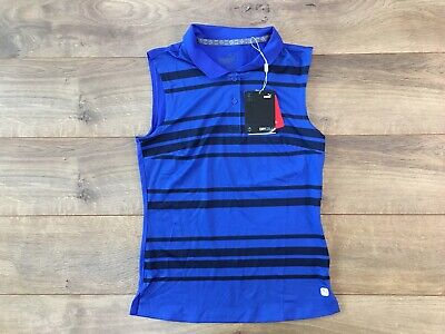 Puma Girls Stripe Sleeveless Golf Polo Shirt Dazzling Blue Youth L ( 595685 02 )
