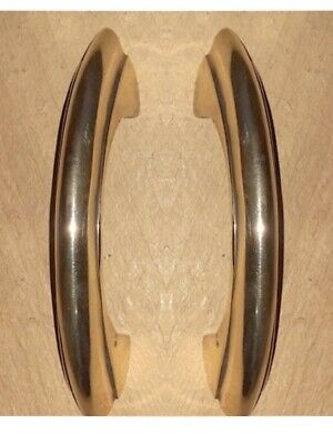 "2 polished D kitchen pulls handles 11cm 100% brass DECO cupboard doors 4.3/4"" B"