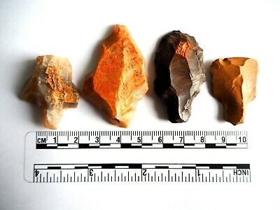 Paleolithic Arrowheads x 4 - Genuine Saharan Flint Artifacts - 70,000BC (2619)