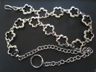 Vintage 1990'S Silver Tone Chain Link Flower Belt Hanging Chain Flower Power