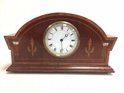 Antique Small Wooden Clock With Marquetry & Swiss Escapement Movement