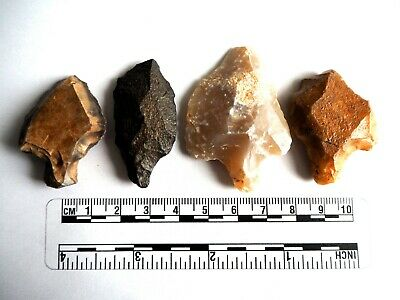 Paleolithic Arrowheads x 4 - Genuine Saharan Flint Artifacts - 70,000BC (2626)