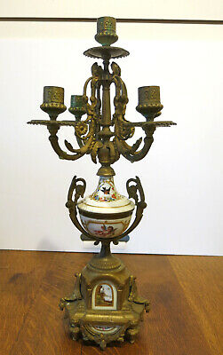 Antique 19th Century Louis XV French Hand-Painted Porcelain & Ormolu Candelabra