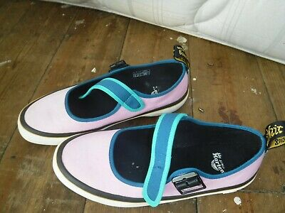 Dr Martens canvas pumps, mary janes, size 6, rockabilly, pink and blue