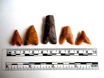 Neolithic Arrowheads x 5, Eiffel / Moroccan Points, Genuine - 4000BC  (2475)