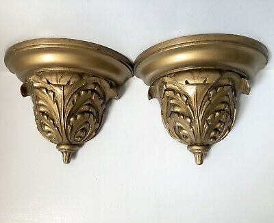 "Wall Shelf Wood Gold Corbel Bracket 10"" Pair (2) NeoClassical Acanthus Leaf"