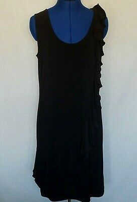 M by Marc Bouwer Womens Dress Sz M Black Shift Ruffle Detail A19852