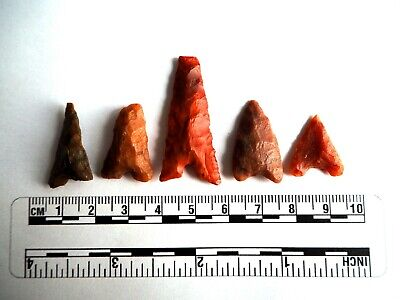 Neolithic Arrowheads x 5, Eiffel / Moroccan Points, Genuine - 4000BC  (2491)
