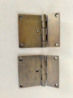 "2 cast hinges vintage age style solid 100%Brass DOOR BOX restore heavy 3"" screws"