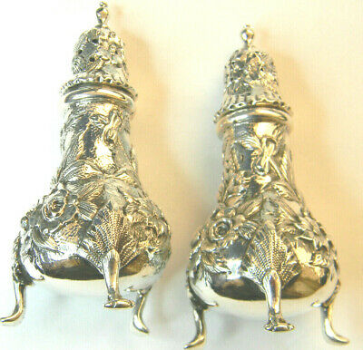 """PAIR KIRK & SON INC. Repousse Sterling 4"""" FOOTED SHAKERS #7 GORGEOUS"""