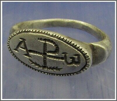 ** CHI-RHO ** Ancient Silver Roman Ring **AMAZING **