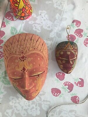 Pair Of WOODEN THAI MASKs - BEAUTIFUL Colors - 8 Inches + 4 Inches