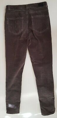 PAIGE Womens Corduroy Skinny Fit Jeans Granite Grey Cord Zip Ankle Size W26 L27