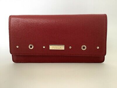 New Ladies Furla Cherry Red Saffiano Leather Slim Wallet