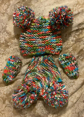 Next Baby Girls Bobble Hat; Mittens & Scarf - Age 3 - 6 Months