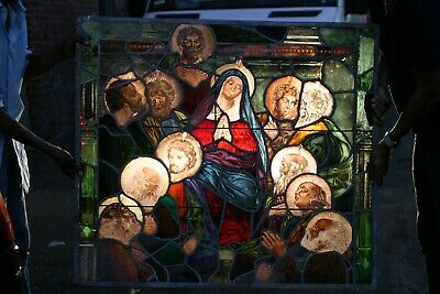antique stain glass pictorial victorian church window, faces, stunning large