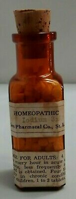 Vintage homeopathic Iodium Tablets Medicine Bottle Amber Cork with intact label