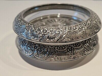 Frank M. Whiting & Co Vintage Sterling Silver Glass Coasters Repousse Botticelli