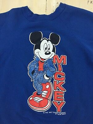 MICKEY MOUSE - Vtg 80s Blue Acrylic/Cotton VELVA SHEEN Disney Sweatshirt, SMALL