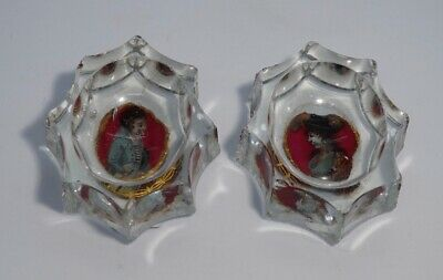 Pair of German glass salts, reverse painted portraits, c. 1800