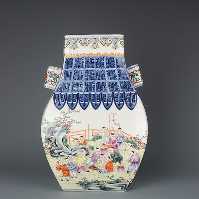 """11"""" Old Chinese Porcelain qianlong marked famille rose Child double ear Vase"""