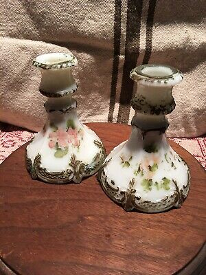 Pair Antique Painted Victorian Milk Glass Candle Holders-Candlesticks