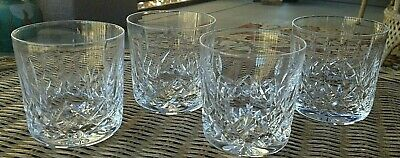 """4 Lot Waterford Crystal Lismore Old Fashioned Tumbler Glasses 3 3/8"""" Mint"""