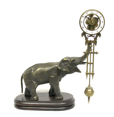 German Style Junghans Brass Elephant Swinging Clock with 8 Day Skeleton Movement