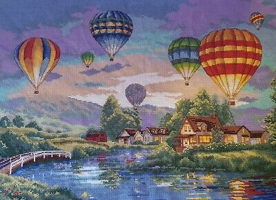 Hand made completed cross stitch Air Ballons 52 x 38cm