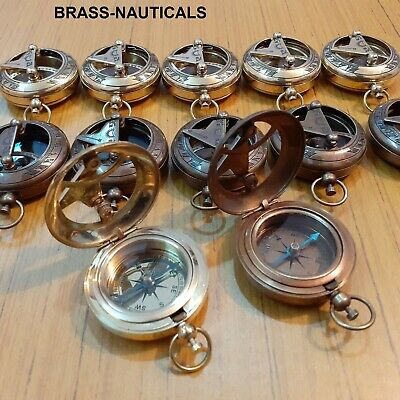 Lot of 50 Brass Push Button Sundial Compass Marine 25-antique+25-polish finish