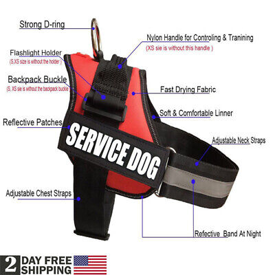 Reflective Service Dog Vest Harness Patches Soft Collar Small/Large/Medium S-XL