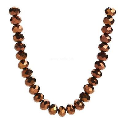 4-12mm Necklace Glass Wholesale Rondelle Beads Copper Plated Loose Faceted