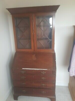 Antique secretary bureau George III mahogany, with bookcase