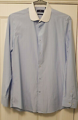 Next Mens Long Sleeve Shirt Slim Fit Size 16  Blue with White Collar New WO Tags