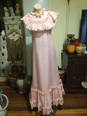 60's 70's Vintage Maxi/ankle Length Dress Gown Pink Chiffon Ruffled Neckline
