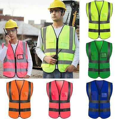 Hi Vis High Visibility Vest Reflective Zip Waistcoat Jacket Safety Workwear Tape