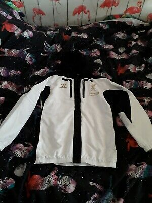 Boys White/black Liverpool Fc Hooded Lightweight Jackets 12-13 Years