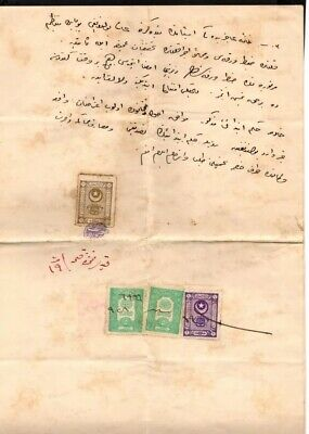 Ottoman Empire Turkey 3 Color Franked Fiskal Use Rare Cover Folds