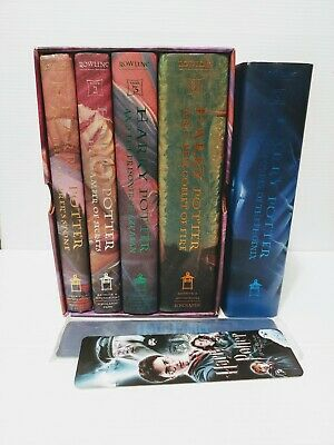 Harry Potter Hardcover Book Set 1-5 Two Extra Book Marks