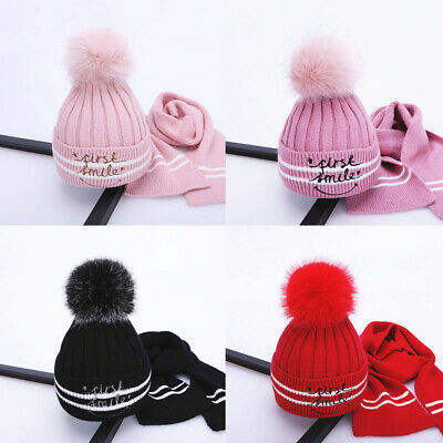 Winter Hat Scarf Set Knitted Hat Soft Kids Girls Thickened Pompom Beanie Ski Cap