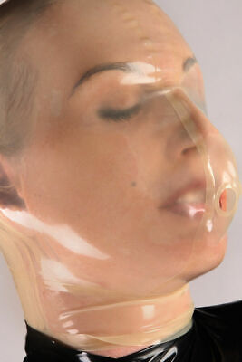 645 Latex Rubber Gummi breathing Mask Hood customized catsuit costume 0.4mm cool